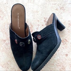 A. Marinelli black suede Heeled Mules size 10